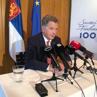 Presidentti Sauli Niinistö lehdistötilaisuudessa New Yorkissa 20. syyskuuta.