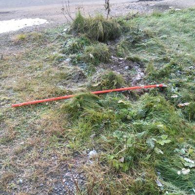 Merkittävä osa aurausviitoista on kaadettu ja heitetty ojaan.