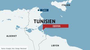Karta över Tunisien och ön Djerba.