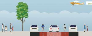 Illustration över Ågatan som 2-1 väg där det finns en körfil i mitten och två cykelfiler på sidorna.
