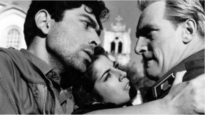 Andrea Nicolas, Demetra Demetri ja Åke Lindman elokuvassa Laukaus Kyproksessa.