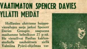 """Otsikko Stump-lehdessä vuonna 1967: """"Vaatimaton Spncer Davies yllätti meidät"""""""