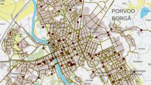 Karta på nätet över söndrig gatubelysning i Borgå.