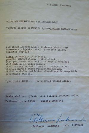 Tarjouspaperi kirkon sisäkaton maalauksesta, kirjoitettu koneella, allekirjoitus Pellervo Lukumies.