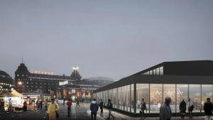 Köpmännen i Hagnäshallen vill fortsätta sin verksamhet i en glashall på torget medan saluhallen renoveras.