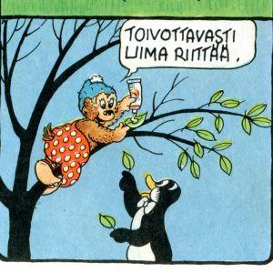 Rasmus Nalle liimaa lehtiä