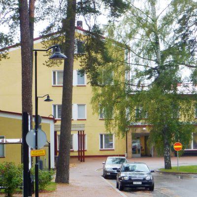 Ett stort gult hus i tallskog