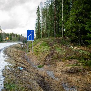Raivattua metsää tien vieressä.