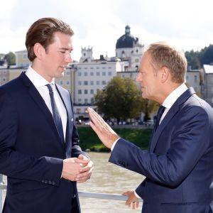 Österrikes förbundskansler Sebastian Kurz och Europeiska rådes ordförande Donald Tusk.