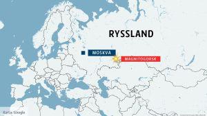 karta över ryssland i samband med olycka.