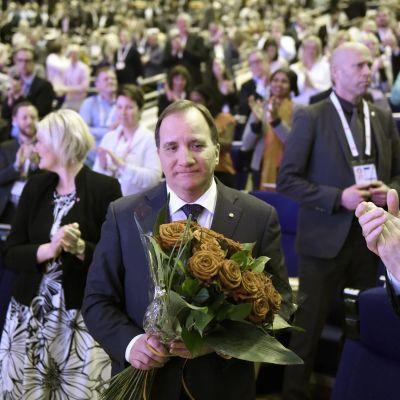 Sveriges statsminister Stefan Löfven vid Socialdemokraternas partikongress i Göteborg den 9 april 2017.