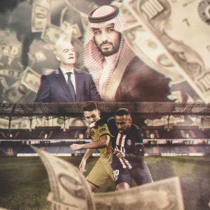 Fotbollens mäktiga män ser ut över en fotbollsplan med en bakgrund av pengar, en grafik.