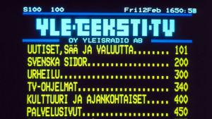 Tekstitelevision sivu avoinna, pääsivu (1982)