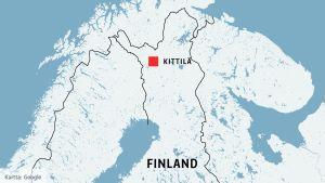 Kittilä visas på en karta.