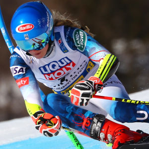 Mikaela Shiffrin från USA i VM-backen.