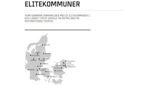 Karta med Team Danmarks elitkommuner.