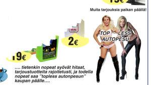 Reklam för topless biltvätt i Kyrkslätt