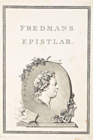 Fredmans Epistlar. Pärmbilden till den första upplagan skapad av Johan Tobias Sergel och förverkligad av Johan Fredrik Martin.