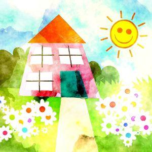 Lapsen piirtämä talo