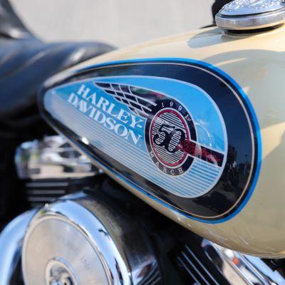 Harley-Davidson -merkki moottoripyörän tankissa.