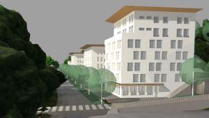 Ritning över tre nya byggnader i flera våningar.