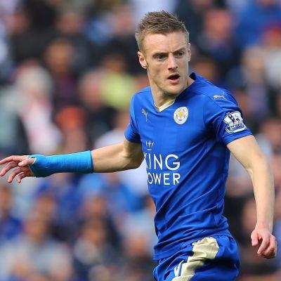 Jamie Vardy i Leicesters blåa tröja.