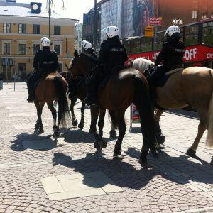 Polisen var förberedd på demonstrationen.
