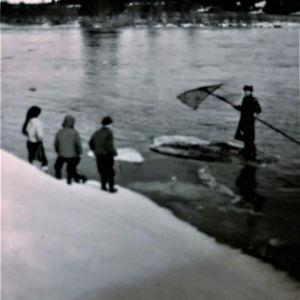 Lapset katsovat Siikajoen rannalla lippokalastusta.