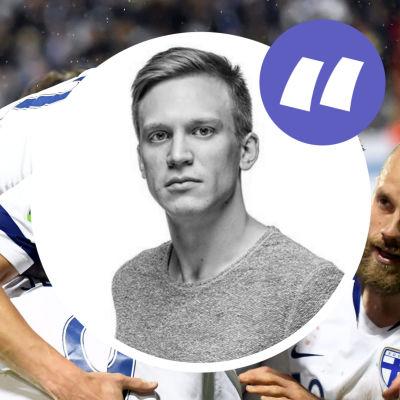Finlands fotbollslandslag firar mål. Ansikte på Mats Ahlnäs påklistrat.