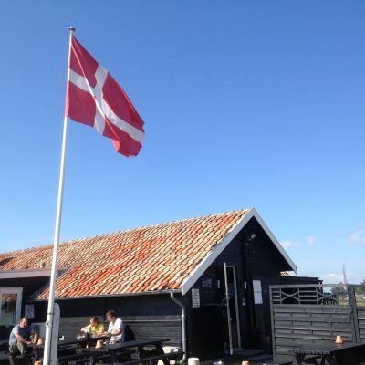 Danska flaggan vajar utanför lantligt hus, blå himmel.