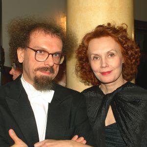 Kompositörerna Jean-Babtiste Barriere och Kaija Saariaho på slottsmottagningen 2002.