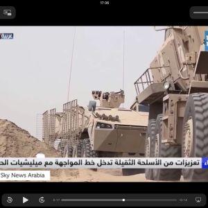 Skärmdump från video som visar bestyckade finsktillverkade trupptransportfordon i Jemen. Fordonen av typen Patria AMV är bestyckade med ryska vapen och enligt uppgift filmade i augusti 2018 på väg för att delta i striderna om hamnstaden Hodeidah.