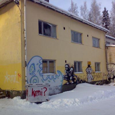 Den brandskadade träningslokalen i Borgå