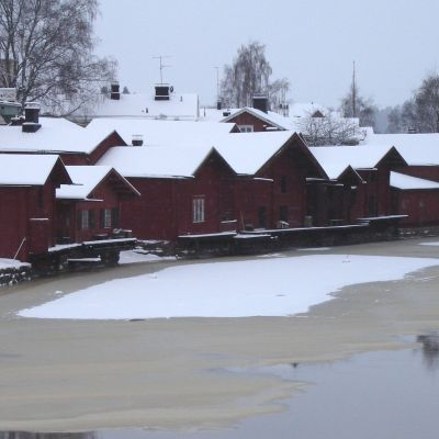 Strandbodarna i Borgå på vintern