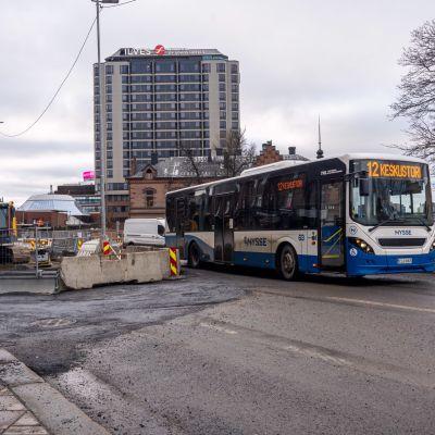 Ratikkatyömaata Tampereella.