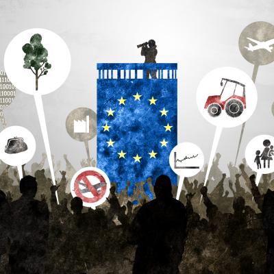 Kuvituskuvassa EU-värein koristeltu tornitalo, jonka katolla seisoo nainen kiikaroimassa alas. Alhaalla suuri joukko ihmisiä, joilla puhekuplia. Puhekuplissa on erilaisia symboleita, mm. teollisuus, digitalisaatio, finanssiala, liikennöinti, metsät.