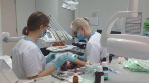 Hammaslääkäri ja hammashoitaja työssään