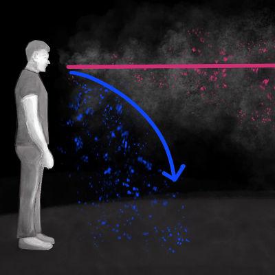 Illustration på hur coronaviruset kan spridas som droppsmitta eller via aerosoler.