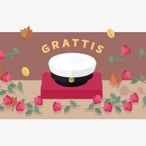 Bild av studentmössa och rosor med texten grattis