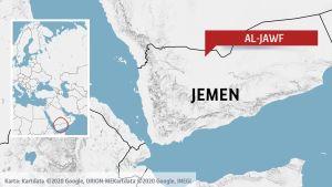Al-Jawf i Jemen på en karta.