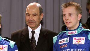 Peter Sauber tillsammans med Kimi Räikkönen