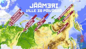 Jäämeri 30 päivässä -ohjelmasarjan reittikartta