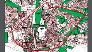 Karta över område i Pargas centrum där det kan bli förbjudet att avfyra raketer.