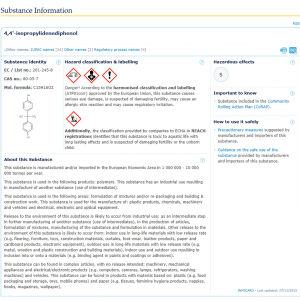 Ett infokort ur europeiska kemikaliemyndighetens kemikaliedatabas, här information om bisfenol-A