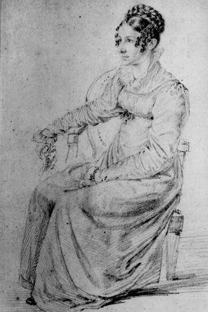 """Ludwig Emil Grimms porträtt av Dorothea """"Dortchen"""" Wild från 1815."""