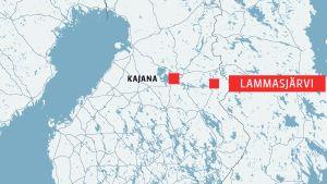 Kartan visar att Lammasjärvi ligger nära gränsen  i östra Finland, ungefär i höjd med staden Kajana.