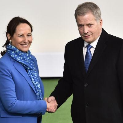 Segolene Royal och Sauli Niinistö i Paris inför klimatmötet 2015