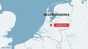 Karta över Nederländerna.