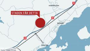 En karta som visar ett markområde Raseborgs stad får av Fiskarsbolaget.