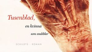 En del av pärmbilden till Birgitta Bouchts roman Tusenblad en kvinna som snubblar. 2011.